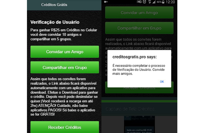 Golpe promete créditos para celular mas rouba dados do usuário (Foto: Reprodução/Psafe)