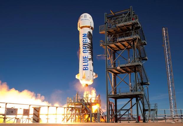 Lançamento de um foguete da Blue Origin, empresa de espaçonave de Jeff Bezzos (Foto: BlueOrigin.com)
