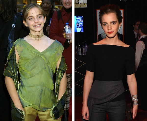 A atriz Emma Watson em 2001, aos 11 anos, e hoje com 25 anos (Foto: Getty Images)
