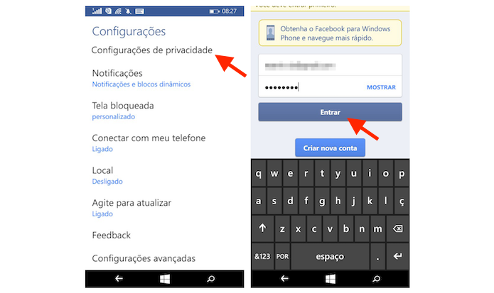 Acessando as configurações de privacidade do Facebook pelo Windows Phone (Foto: Reprodução/Marvin Costa)