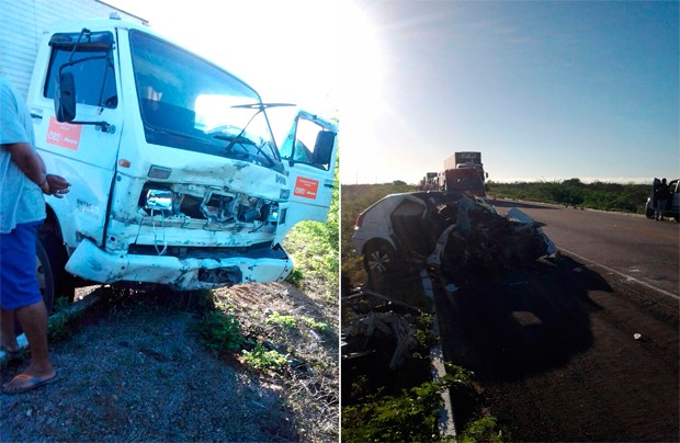 Acidente envolveu um caminhão e um Palio, que colidiram na BR-304, entre as cidades de Angicos e Fernando Pedroza  (Foto: Glebson Dantas)