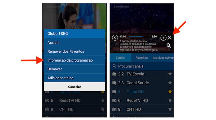 Verificando informações sobre a programação de um canal de TV no Galaxy Gran Prime (Foto: Reprodução/Marvin Costa)