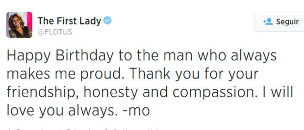 Michelle Obama posta no 'Twitter' mensagem de aniversário e declaração de amor para o marido. (Foto: Reprodução / Twitter de Michelle Obama)