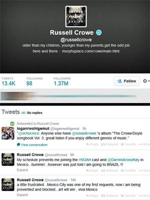 Russell Crowe anuncia no Twitter que vem ao Brasil divulgar 'Noé' (Foto: Reprodução/Twitter)