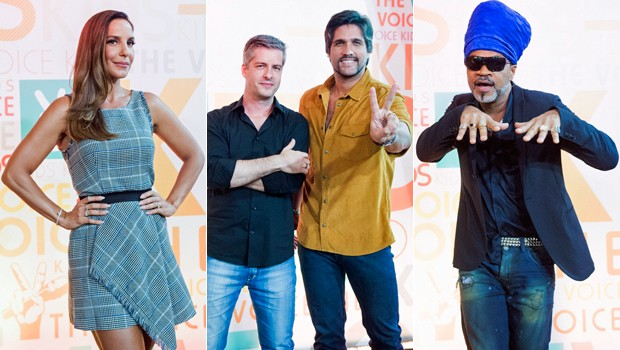 Os técnicos Carlinhos Brown, Ivete Sangalo e a dupla Victor & Leo estão no The Voice Kids (Foto: Globo)