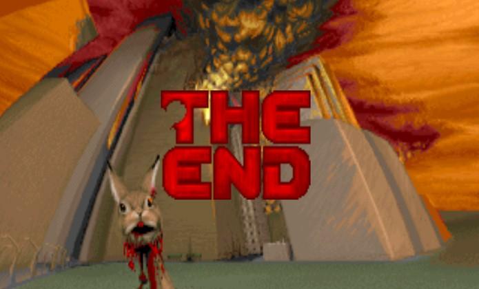 A coelhinha de estimação Daisy foi uma das primeiras vítimas da invasão demoníaca na Terra (Foto: youtube.com)