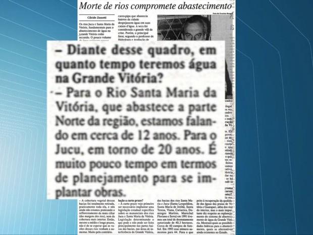 O estudo foi assunto de uma reportagem publicada no jornal A Gazeta, em 1995. (Foto: Reprodução/TV Gazeta)