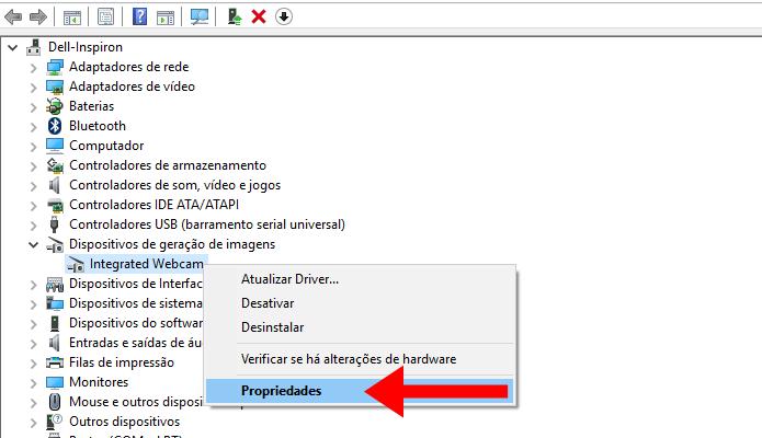 Vá até as propriedades da webcam (Foto: Reprodução/Paulo Alves)