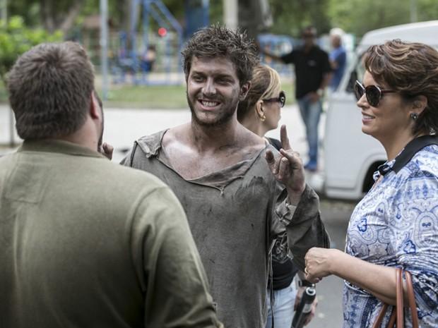 Klebber Toledo e Suzy Rêgo em gravação de Império  (Foto: Inácio Moraes / Gshow)