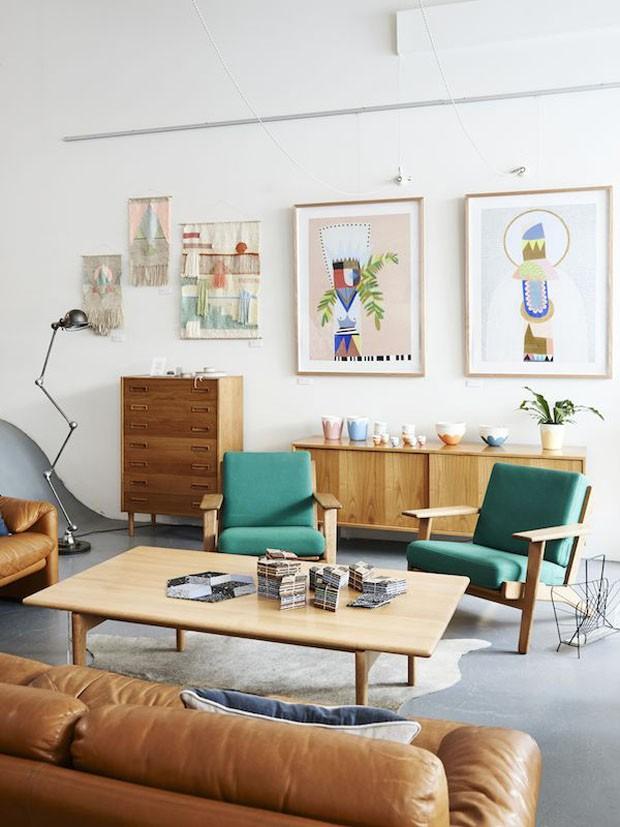 D cor do dia sala vintage com toques naturais casa for Sala de estar retro vintage