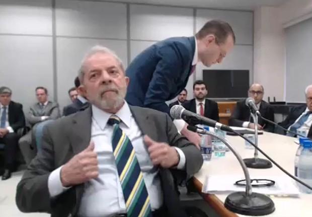 O ex-presidente Luiz Inácio Lula da Silva durante depoimento gravado ao juiz Sérgio Moro (Foto: Reprodução/Justiça Federal )
