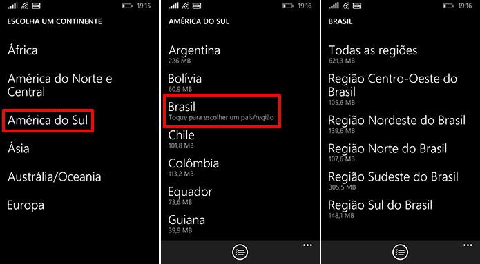 Here Maps oferece mapas offline do Brasil dividido por regiões para que usuaário economize espaço (Foto: Reprodução/Elson de Souza)