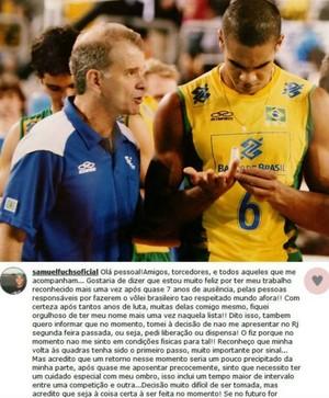 Samuel Fuchs do vôlei com Bernardinho (Foto: Reprodução)