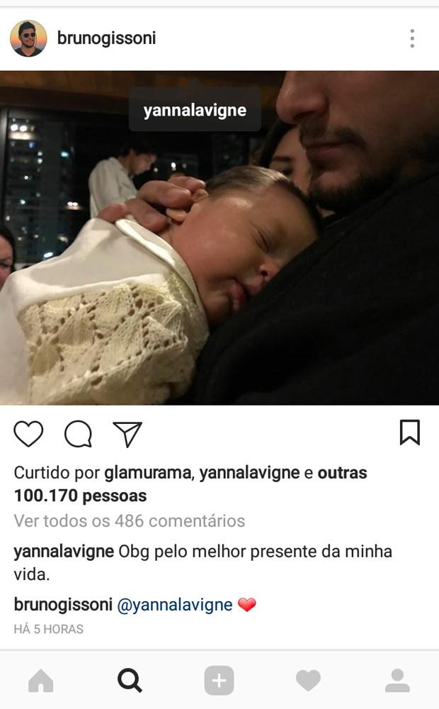 Yanna Lavigne escreve mensagem carinhosa para Bruno Gissoni (Foto: Reprodução/Instagram)