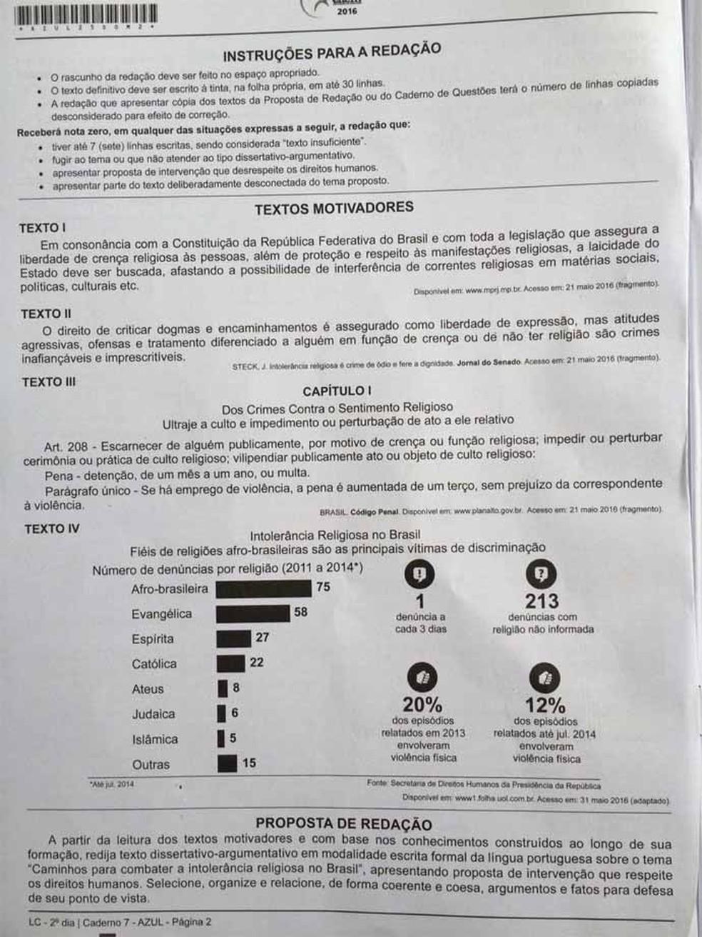ENEM 2016 - 2º DIA - PROVA AZUL - REDAÇÃO (Foto: G1 )