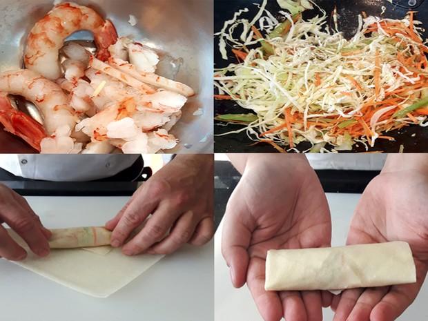 Além do grilo, una o camarão com a mistura de legumes para poder fazer os rolinhos  (Foto: Júlia Groppo/G1)