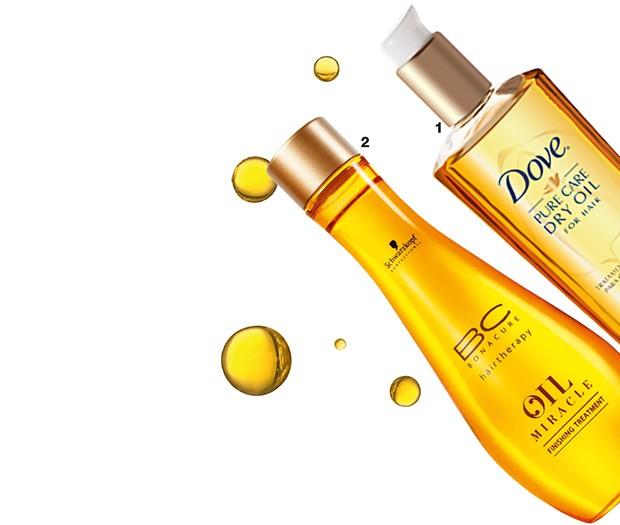 1. Dry Oil, Dove, R$ 40 2. Oil Miracle, Schwarzkopf,  R$ 190 (Foto: Reprodução )