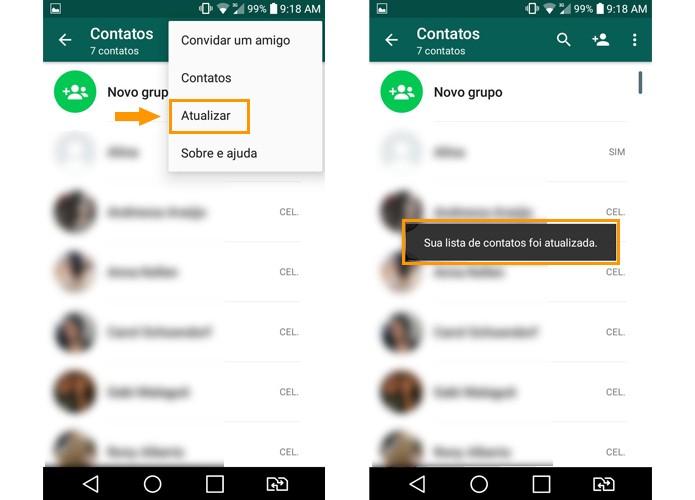 Atualize sua agenda do WhatsApp (Foto: Reprodução/Aline Batista)