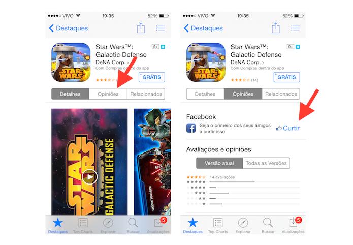 Acessando o botão Curtir do Facebook na App Store do iOS (Foto: Reprodução/Marvin Costa)
