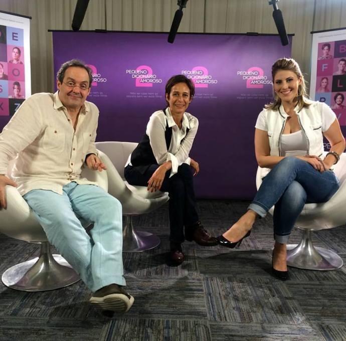 Jessica Leão com elenco do filme 'Pequeno dicionário amoroso 2' (Foto: Reprodução / TV Diário)