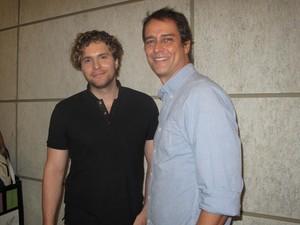 Thiago Fragoso e Marcelo Anthony viverão um relacionamento na novela (Foto: Isabela Marinho/ G1)