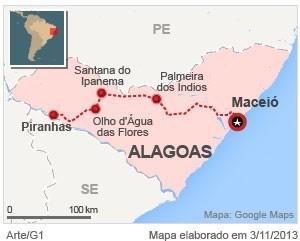 VALE ESTE - No 1º dia, equipe do G1 sai de Maceió com destino a Piranhas