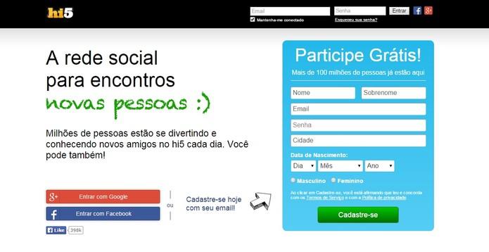 Hi5 permite usar o login do Facebook para se cadastrar (Foto: Reprodução/Hi5)