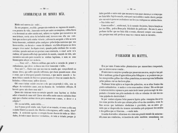 Crônica 'Lembranças de minha mãe', publicada anonimamente em 1860 na 'Revista Luso-Brasielria' e republicada em junho de 2016 na 'Revista Brasileira', da ABL; pesquisador abrui autoria a Machado de Assis (Foto: Divulgação)