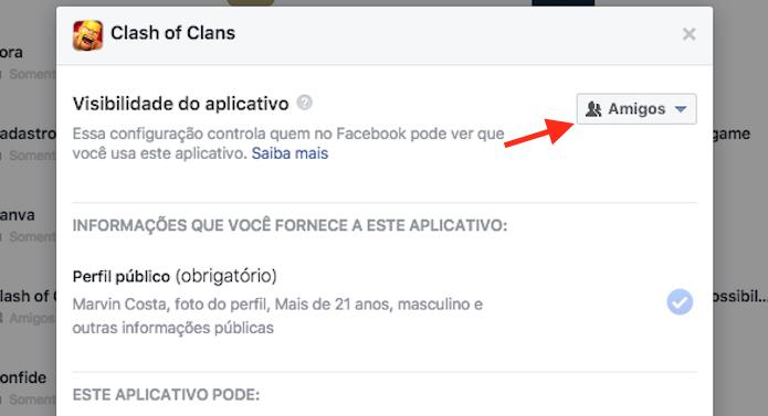 Configuração de privacidade de um aplicativo vinculado a uma conta do Facebook (Foto: Reprodução/Marvin Costa)