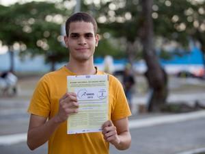 Richard Douglas se mostrou bastante confianta para o resultado do Enem (Foto: Jonathan Lins/G1)