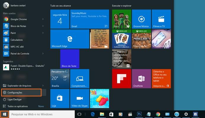 Acesse as configurações do Windows (Foto: Reprodução/Barbara Mannara)
