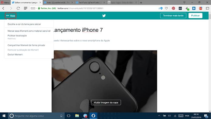 Usuário pode achar opções adicionais do Moment no botão Mais (Foto: Reprodução/Elson de Souza)