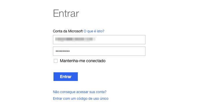 Acesse o link e faça login em sua conta Microsoft (Foto: Reprodução/Helito Bijora)