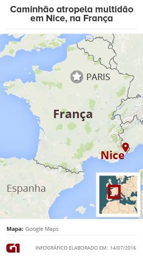 Mapa Nice atropelamento França (Foto: Editoria de Arte/G1)