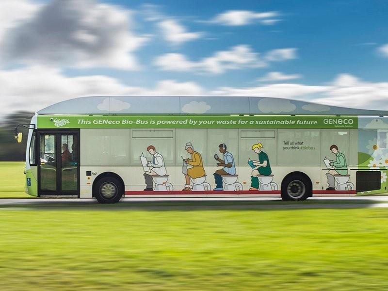 Ônibus utiliza fezes humanas e restos de comida para funcionar (Foto: Reprodução)