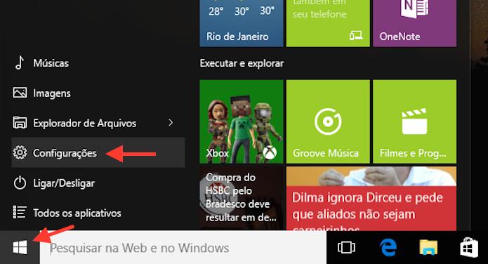 Acessando as configurações do Windows 10 (Foto: Reprodução/Marvin Costa)
