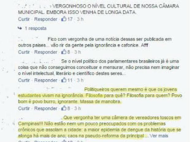 Internautas classificam nas redes sociais moção como 'vergonhosa' (Foto: Reprodução/ Facebook)