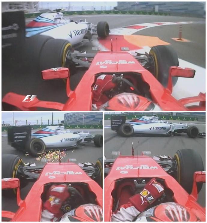 Na última volta, Kimi Raikkonen bateu em Valtteri Bottas, que saiu da pista e perdeu pódio (Foto: Reprodução / F-1)