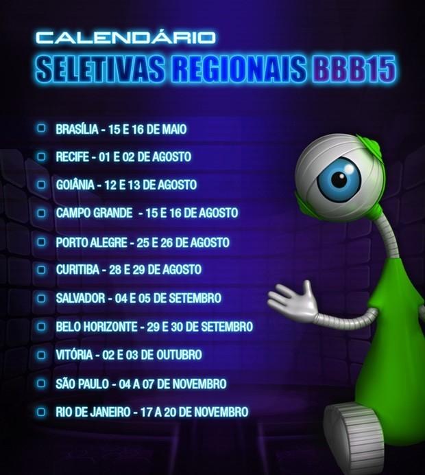 Calendário seletiva bbb (Foto: Divulgação/RPC TV)