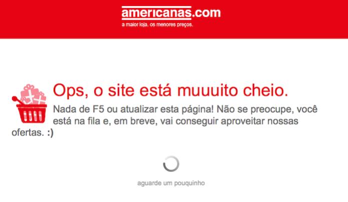 Erro encontrado durante uma compra no site da Americanas  (Foto: Reprodução/Edivaldo Brito) (Foto: Erro encontrado durante uma compra no site da Americanas  (Foto: Reprodução/Edivaldo Brito))