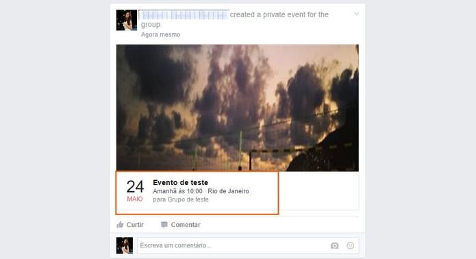 O evento será publicado no grupo do Facebook e privado (Foto: Reprodução/Barbara Mannara)