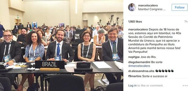 Ministro da Cultura, Marcelo Calero, postou foto em sua conta no Instagram (Foto: Reprodução/Instagram)