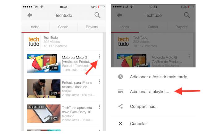 Acessando as opções para playlists do YouTube no iPhone (Foto: Reprodução/Marvin Costa)