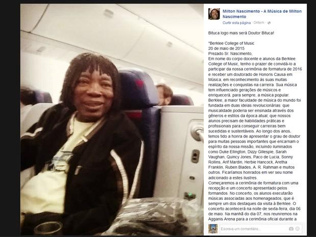Milton Nascimento viaja aos EUA para receber título de doutor em música (Foto: Reprodução/Facebook)