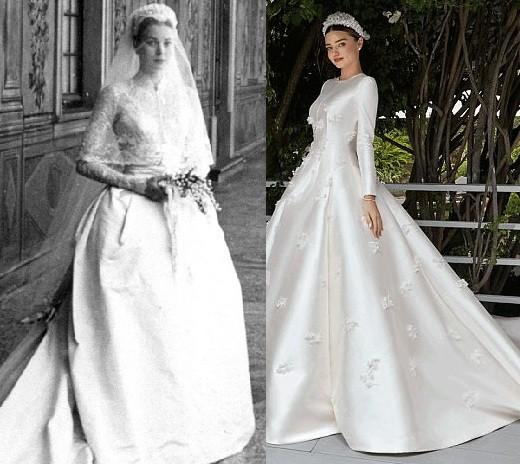 Miranda se inspirou no icônico vestido de casamento usado por Grace Kelly em 1956 (Foto: Vogue/ Reprodução)
