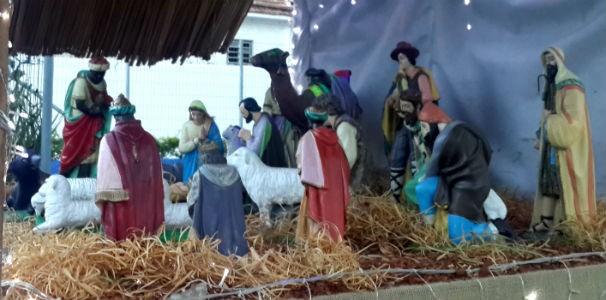 Presépio natalino montado na frente da TV Gazeta  (Foto: Divulgação/TV Gazeta)