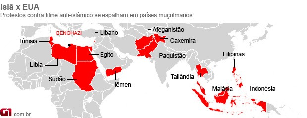 mapa protestos anti-EUA 18/09 (Foto: Editoria de Arte / G1)