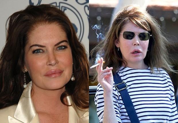 Lara Flynn Boyle em 2008 e em outubro de 2013 (Foto: Getty Images e Grosby Images)