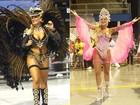 Mais magra, Ellen Rocche usa fantasia decotada em desfile