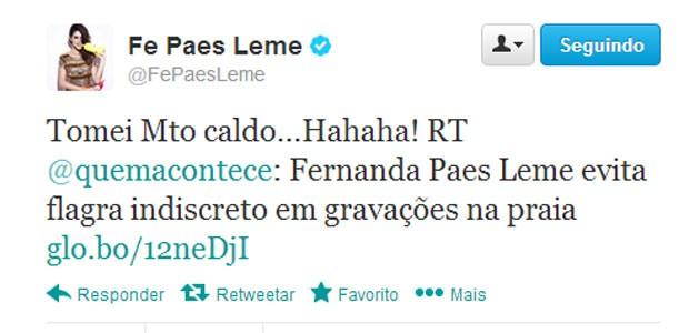 Fernanda Paes Leme faz post no Twitter comentando o caldo que levou (Foto: Reprodução/Twitter)